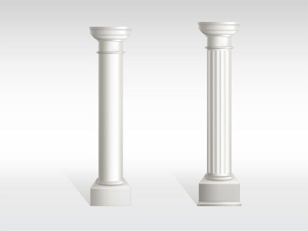 Cylindryczne kolumny z białego marmuru o gładkich, teksturowanych powierzchniach filarów Darmowych Wektorów