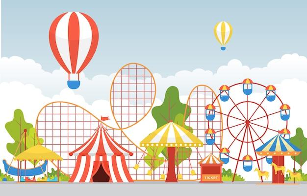 Cyrk carnival festival wesołe miasteczko z fajerwerkami Premium Wektorów