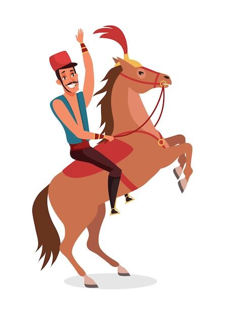 Cyrkowy Jeździec, Performer Pokazowy Siedzący Na Tresowanym Zwierzęciu Premium Wektorów