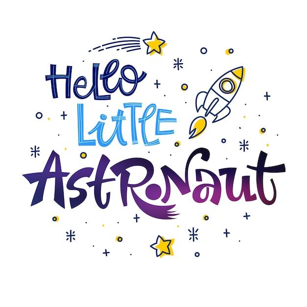 Cytat Bądź Odważnym Małym Astronautą. Premium Wektorów