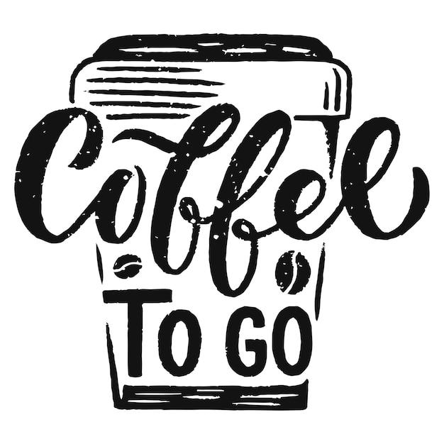 Cytat Odręczny Napis Ze Szkicami Do Kawiarni Lub Kawiarni Premium Wektorów