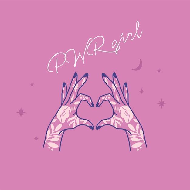 Cytat Siły Dziewczyny. Ikona Symbol Mody Z Wytatuowanym Kobietą Ręką. Hasło Feminizmu. Kobieta Racja. Premium Wektorów