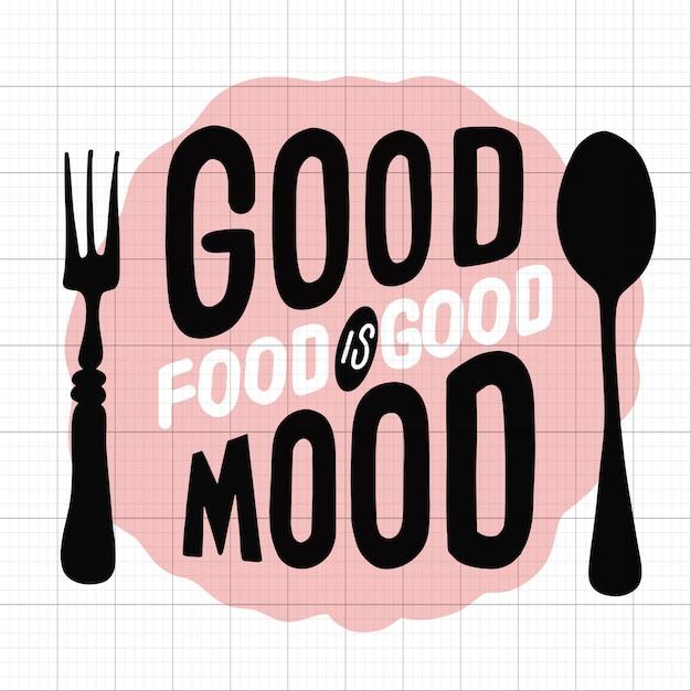 Cytat typograficzny związany z żywnością. stary projekt logo żywności. vintage element druku kuchnia z widelcem i łyżką Premium Wektorów