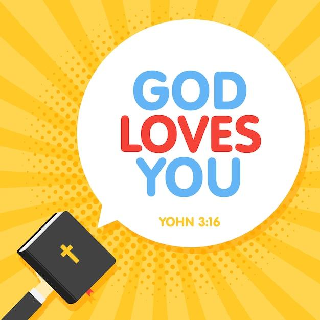Cytat Z Biblii, Bóg Cię Kocha Napis W Tle Retro Promienie Premium Wektorów