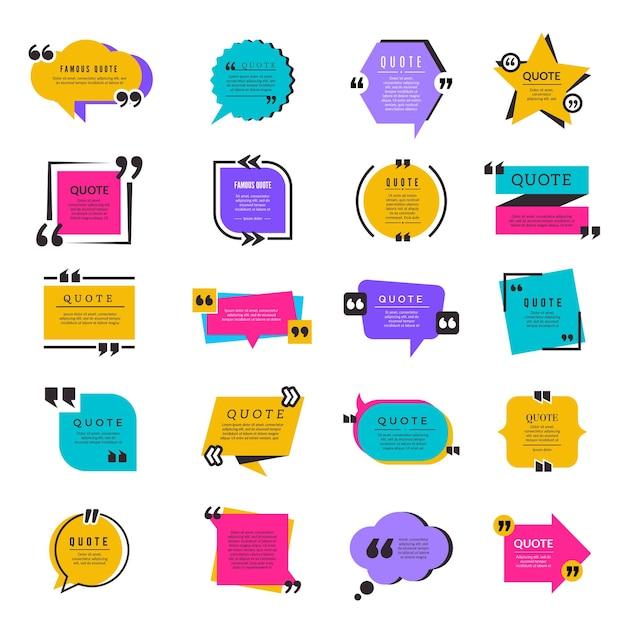 Cytuj Ramki. Sms-y Cytat Bąbelkowy Papier Informacje Elementy Tekstowe Litery Szablon Premium Wektorów