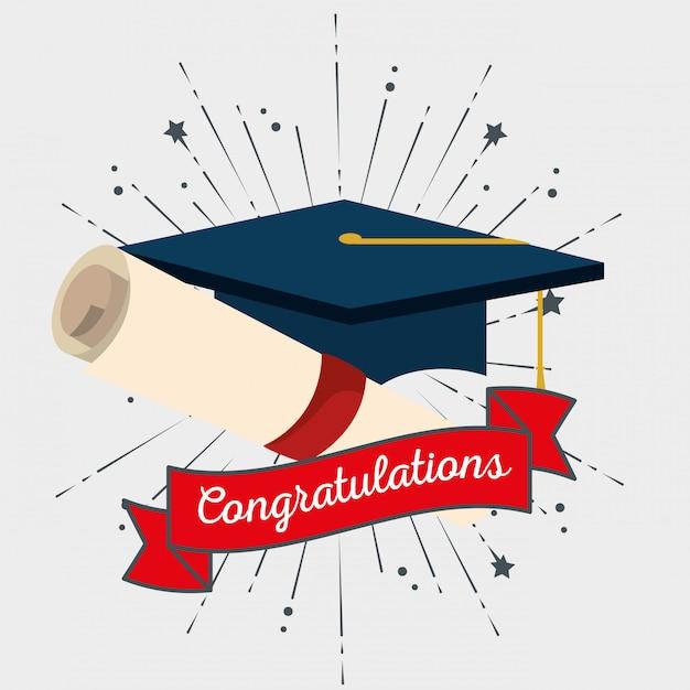 Czapka graduation ze wstążką do wydarzenia gratulacyjnego Darmowych Wektorów