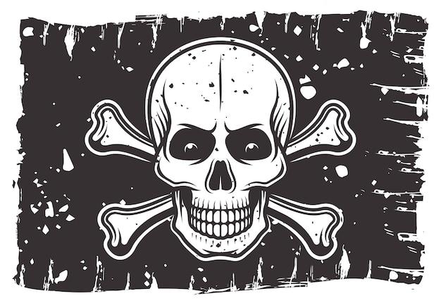 Czarna Flaga Piratów, Na Której Przedstawiona Jest Ilustracja Z Czaszką I Piszczelami Premium Wektorów