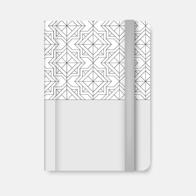 Czarna geometryczna wzoru pokrywa biały dzienniczka wektor Darmowych Wektorów