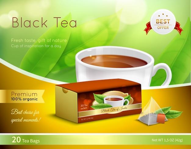 Czarna Herbata Reklamowa Realistyczny Skład Darmowych Wektorów