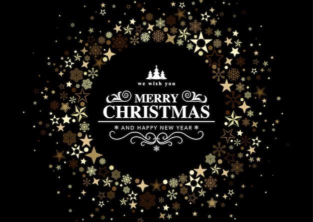 Czarna Kartka świąteczna Z Okrągłym Zdobieniem Premium Wektorów