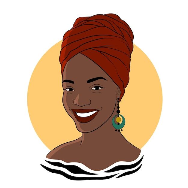 Czarna Kobieta. Afro American Dziewczyna W Czerwonym Turbanie. Ilustracja Moda Premium Wektorów