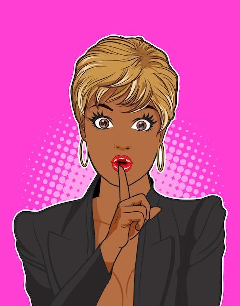 Czarna kobieta milczy z różowym tłem Premium Wektorów