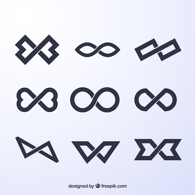 Czarna Kolekcja Symboli Nieskończoności Premium Wektorów