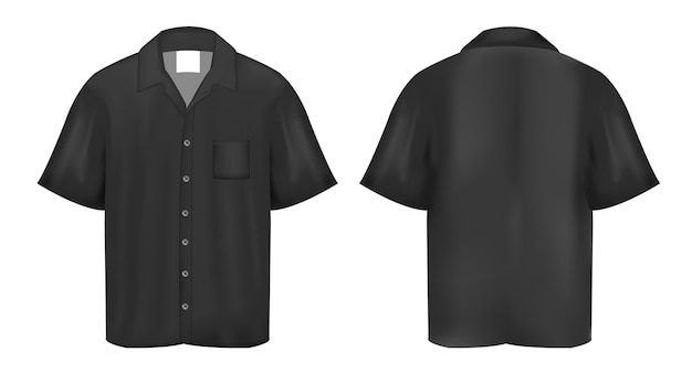 Czarna Koszulka Polo Na Białym Tle Premium Wektorów