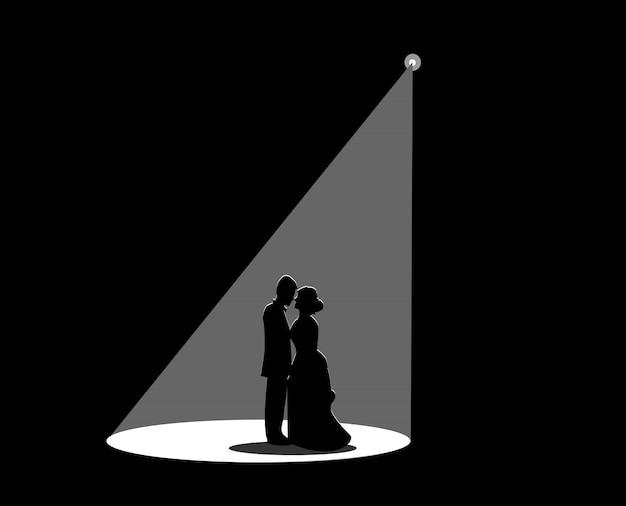 Czarna sylwetka małżeństwa Premium Wektorów