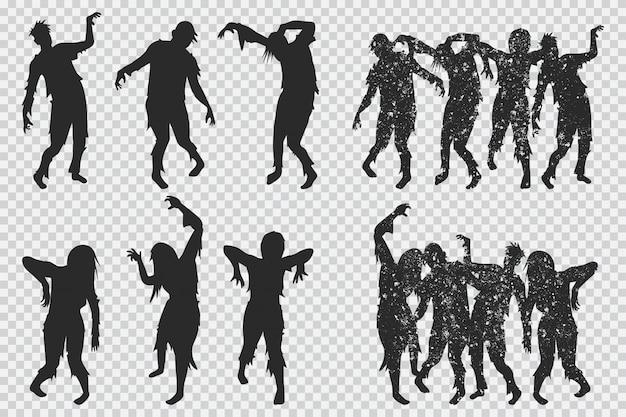Czarna sylwetka zombie. zestaw ikon halloween na białym tle Premium Wektorów