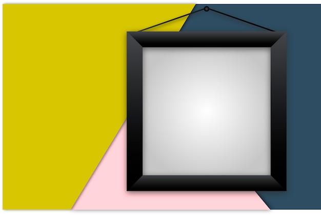 Czarna Wektorowa Realistyczna Rama Na Kolorowym Tle Premium Wektorów