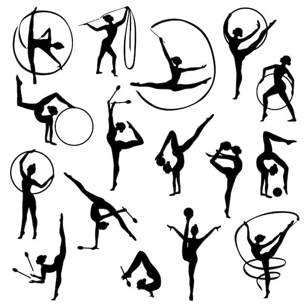 Czarne gimnastyka kobiece sylwetki Premium Wektorów