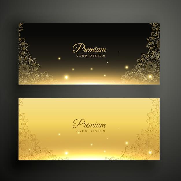 Czarne i złote ozdobne banery dekoracyjne Darmowych Wektorów