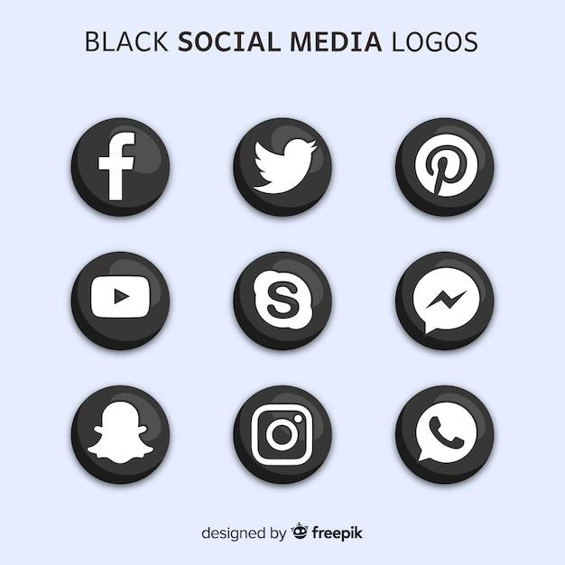 Czarne logo mediów społecznościowych Darmowych Wektorów