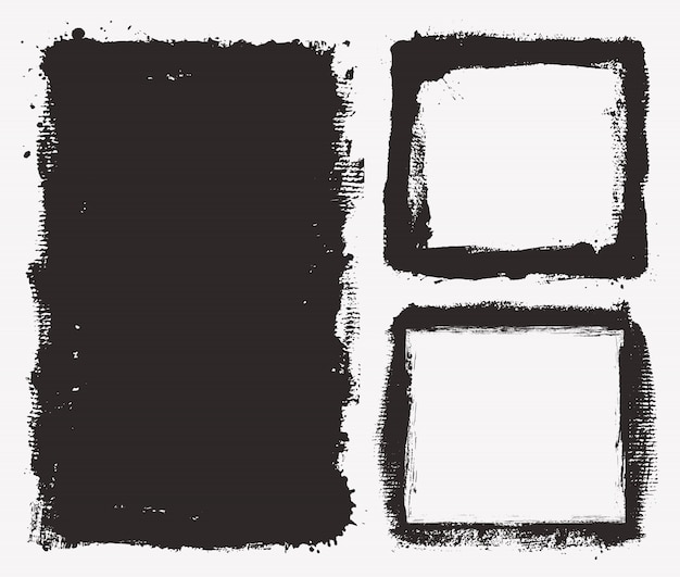 Czarne ramki grunge Premium Wektorów