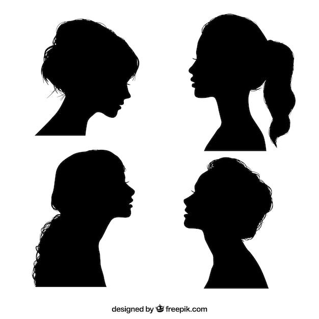 Czarne Sylwetki Dziewczyny Premium Wektorów