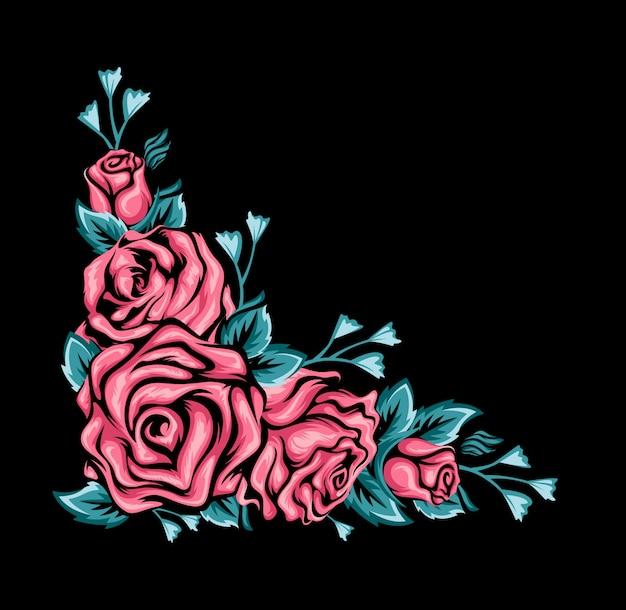 Czarne tło z różowych róż i zielonych liści Premium Wektorów