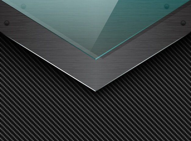 Czarne Tło Z Włókna Węglowego Z Narożną Szczotkowaną Metalową Płytą I Zielonym Przezroczystym Szkłem. Elegancka Przemysłowa Strzała Premium Wektorów