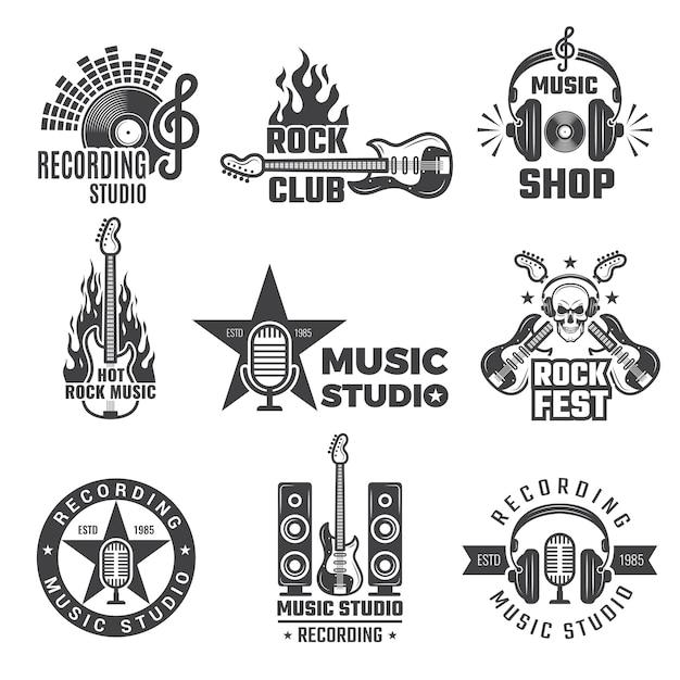 Czarne Wytwórnie Muzyczne. Vintage Winylowa Okładka Nagrywa Symbole Mikrofonu I Słuchawek Dla Logotypów Muzycznych Lub Odznak Firmy Nagraniowej Premium Wektorów