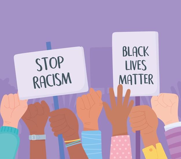 Czarne życie Ma Znaczenie Dla Protestu, Demonstranci Trzymają Plakaty I Podnoszą Pięści, Kampania Uświadamiająca Przeciwko Dyskryminacji Rasowej Premium Wektorów