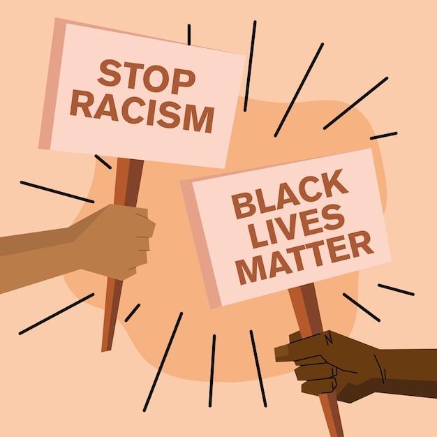 Czarne życie Ma Znaczenie I Powstrzymuje Projektowanie Banerów Związanych Z Rasizmem Na Temat Sprawiedliwości Protestacyjnej I Rasizmu. Premium Wektorów