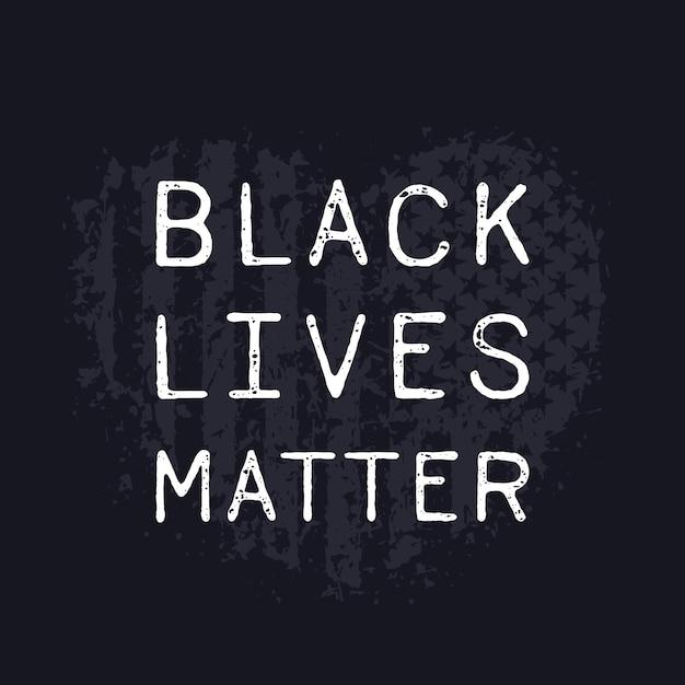 Czarne życie Ma Znaczenie, Serce Grunge Z Amerykańską Flagą Premium Wektorów