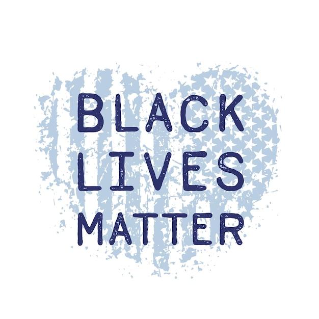 Czarne życie Ma Znaczenie Z Sercem I Amerykańską Flagą Premium Wektorów