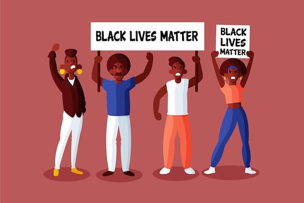 Czarni Ludzie Biorący Udział W Ruchu Czarnych żyć Mają Znaczenie Darmowych Wektorów