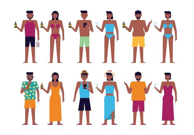 Czarni Ludzie Na Plaży Latem Premium Wektorów