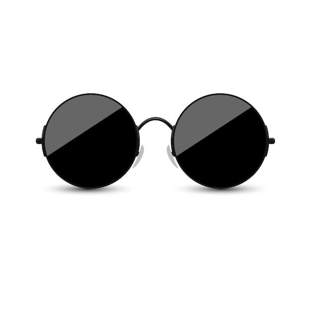 Czarni Okulary Przeciwsłoneczni Z Ciemnym Szkłem Na Białym Tle. Premium Wektorów
