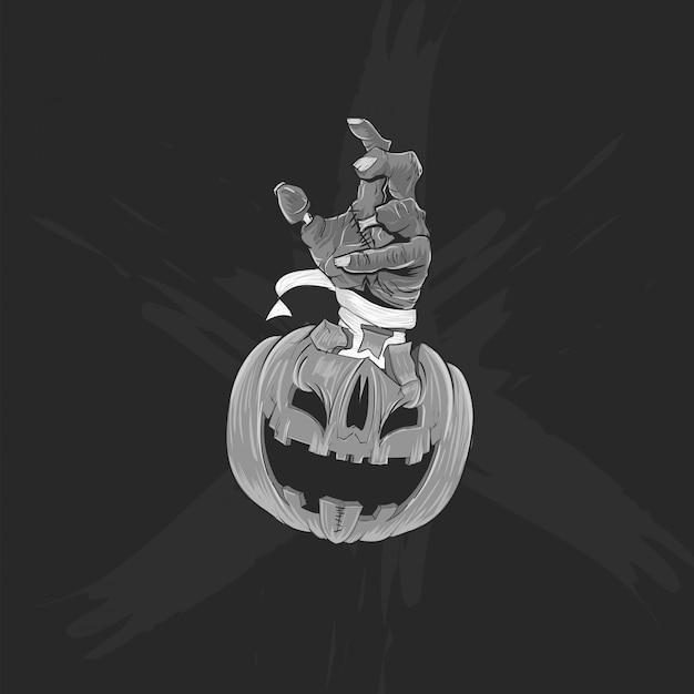 Czarno-biała głowa dyni i ręka zombie na plakat halloween, baner i koszulkę Premium Wektorów