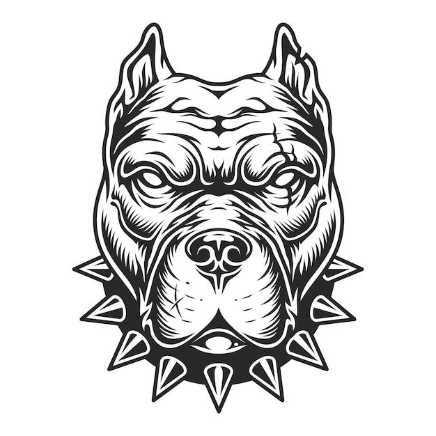 Czarno-biała Głowa Pitbull Darmowych Wektorów