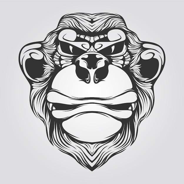 Czarno-biała Grafika Liniowa Małpy Premium Wektorów