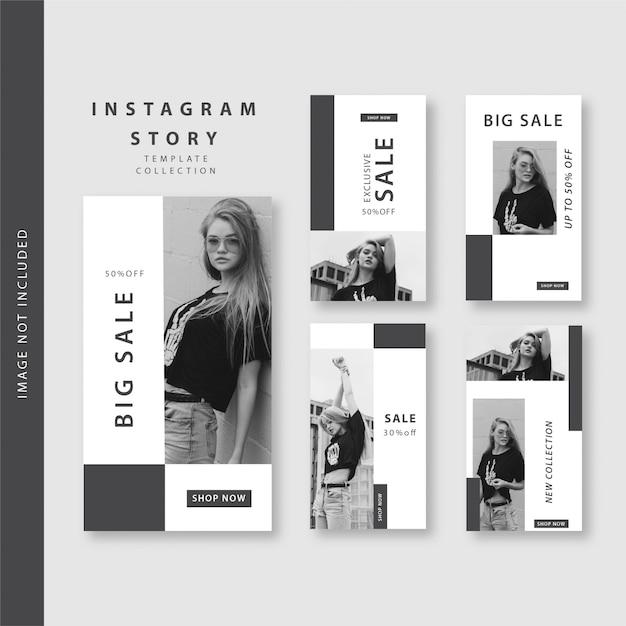Czarno-biała historia na instagramie Premium Wektorów