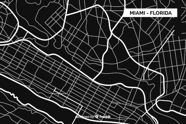 Czarno-biała Mapa Miasta Miami - Floryda Darmowych Wektorów