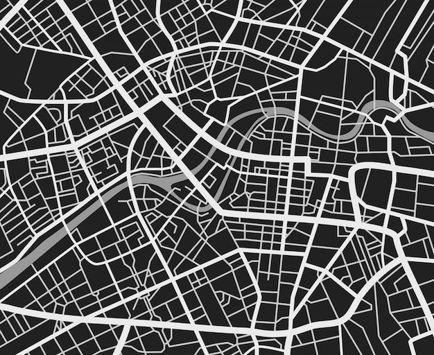 Czarno-biała mapa miasta podróży. kartografia wektorowa dróg transportu miejskiego Premium Wektorów