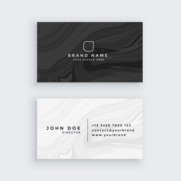Czarno-biała nowoczesna wizytówka z marmurową teksturą Darmowych Wektorów