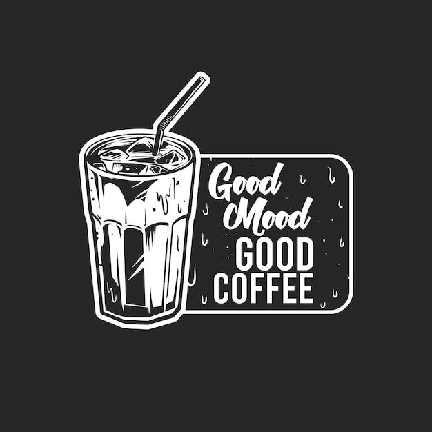 Czarno-biała znaczek zimnej kawy na czarno Premium Wektorów