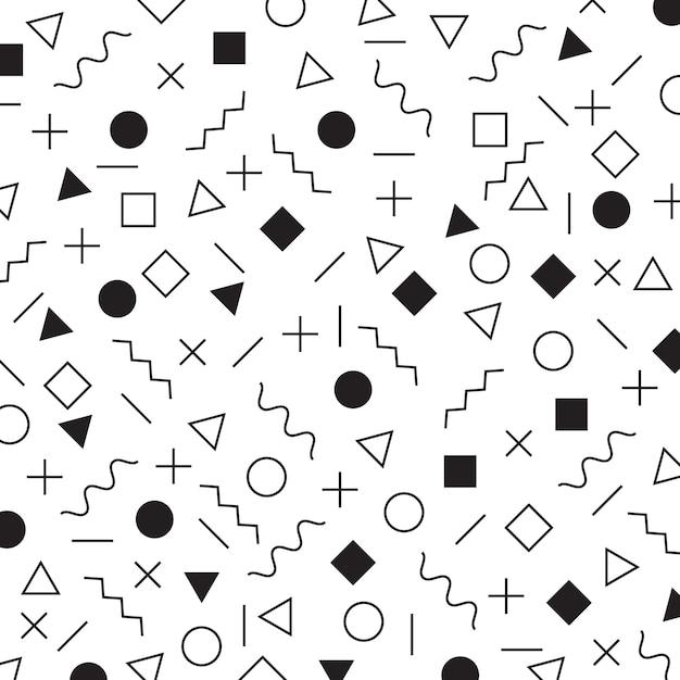 Czarno-białe elementy geometryczne memphis styl wzór Premium Wektorów
