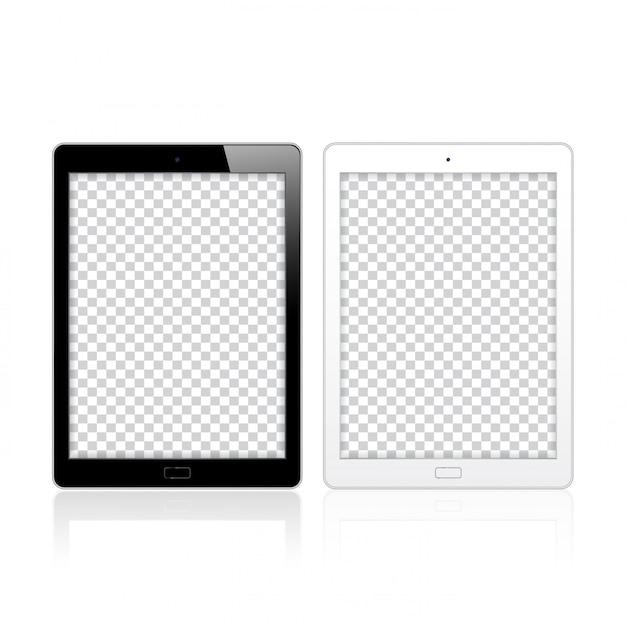 Czarno-białe komputery typu tablet pc dla makieta i szablonu Premium Wektorów