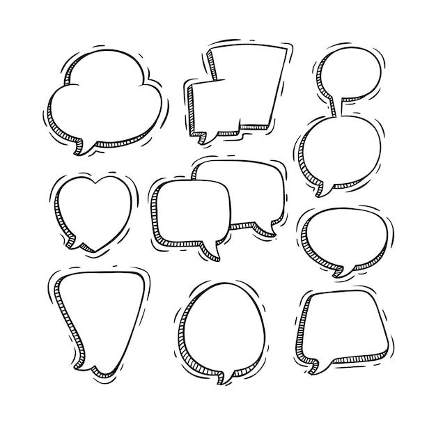 Czarno-białe Mowy Lub Pęcherzyki Czatu Z Doodle Stylu Premium Wektorów