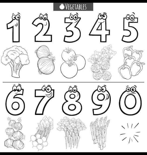 Czarno-białe Numery Kreskówek Edukacyjnych Z Warzywami Premium Wektorów