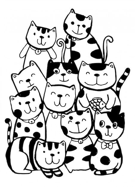 Czarno-białe Rysowanie Ręczne, Styl Postaci Z Kotów Doodles Ilustracyjne Kolorowanki Dla Dzieci. Premium Wektorów