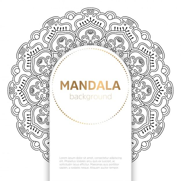 Czarno-białe tło szablonu mandali Darmowych Wektorów